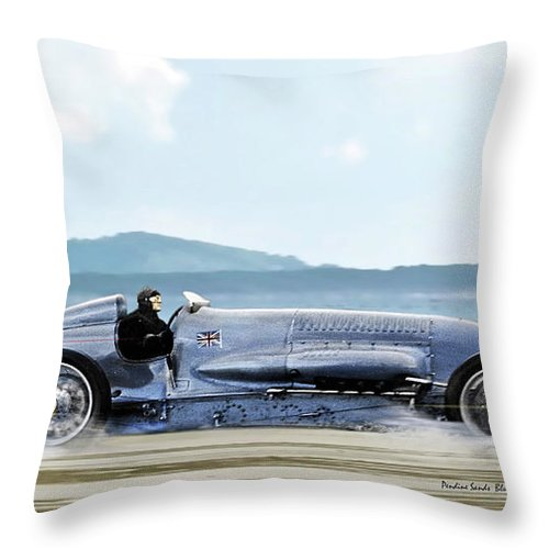 Bluebird Ii Throw Pillow featuring the mixed media Bluebird II, 1928, World Record Land Speed Record At Pendine Sands, Wales, 178.88 Mph by Thomas Pollart