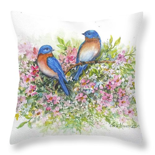 Bluebirds Throw Pillow featuring the painting Bluebirds 'n Blossoms by Lois Mountz