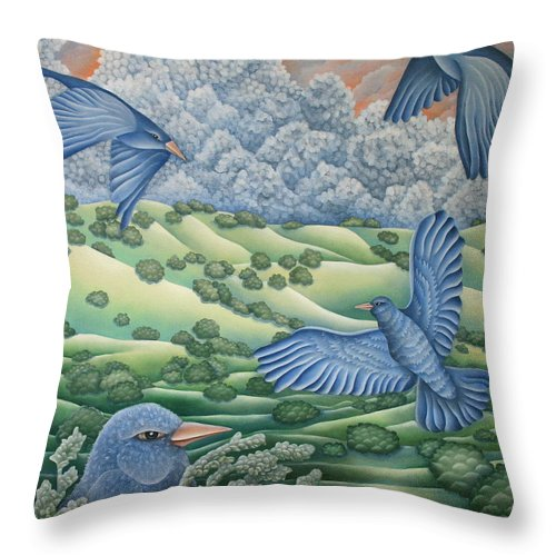 Throw Pillow featuring the painting Bluebirds Of Happiness by Jeniffer Stapher-Thomas
