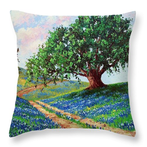 Bluebonnet Throw Pillow featuring the painting Bluebonnet Road by David G Paul