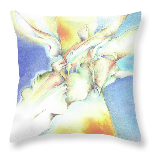 Abstract Throw Pillow featuring the painting Bluebox by Bodhi