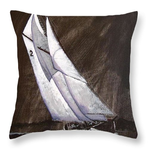 Bluenose Throw Pillow featuring the painting Bluenose At Night Coming by Richard Le Page