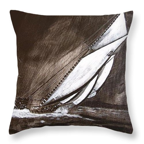 Bluenose Throw Pillow featuring the painting Bluenose At Night Going by Richard Le Page