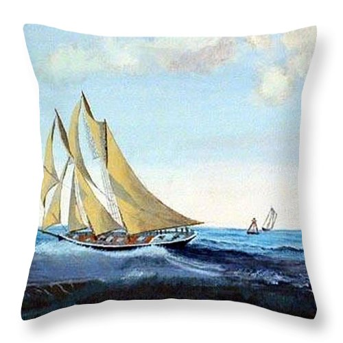 Bluenose Throw Pillow featuring the painting Bluenose by Richard Le Page