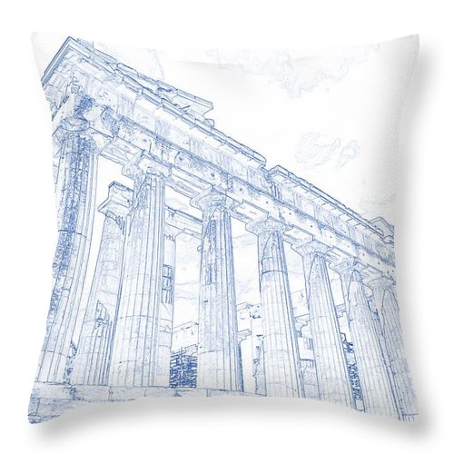 Blueprint drawing of greece palace parthenon iconic ruins throw drawing throw pillow featuring the painting blueprint drawing of greece palace parthenon iconic ruins by celestial malvernweather Images