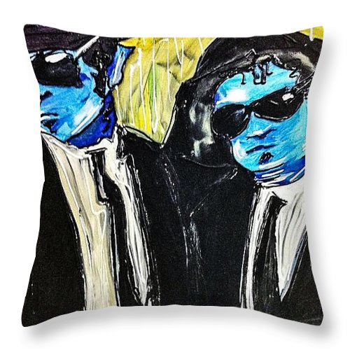 Blues Brothers Throw Pillow featuring the painting Blues Brothers by Paula Baker