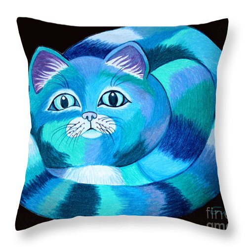 Cat Throw Pillow featuring the drawing Blues Cat by Nick Gustafson