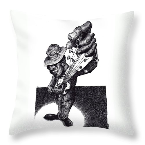 Blues Throw Pillow featuring the drawing Blues Guitar by Tobey Anderson