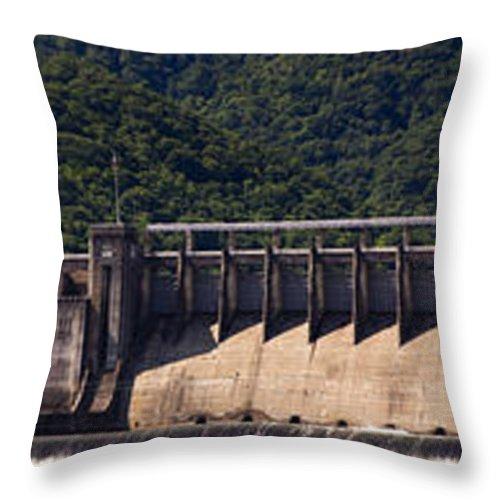 Bluestone Throw Pillow featuring the photograph Bluestone West Virginia Dam Panorama by Teresa Mucha