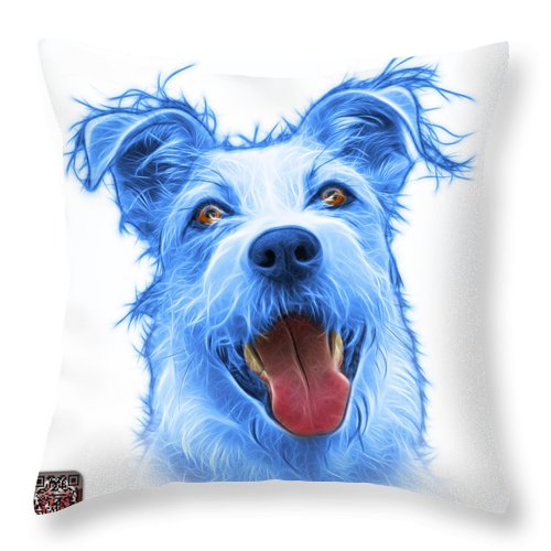 Terrier Throw Pillow featuring the painting Blueterrier Mix 2989 - Wb by James Ahn