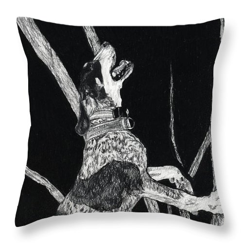 Bluetick Coonhound Throw Pillow featuring the drawing Bluetick Coonhound by Dan Pearce