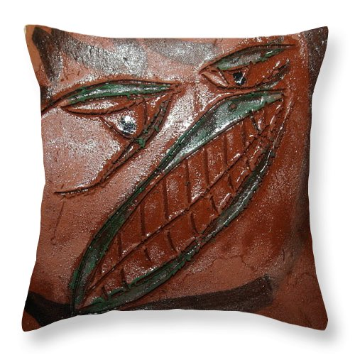 Jesus Throw Pillow featuring the ceramic art Bluff - Tile by Gloria Ssali