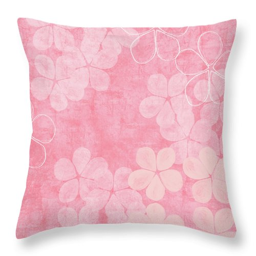 Flowers Throw Pillow featuring the mixed media Blush Blossoms 2- Art By Linda Woods by Linda Woods