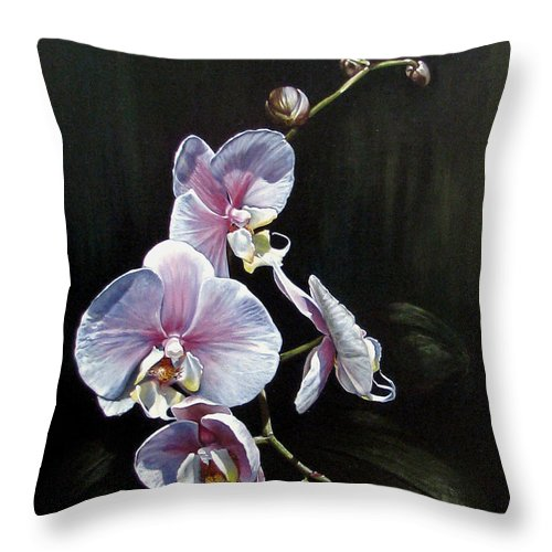 Orchid Throw Pillow featuring the painting Blushing by Joan Garcia