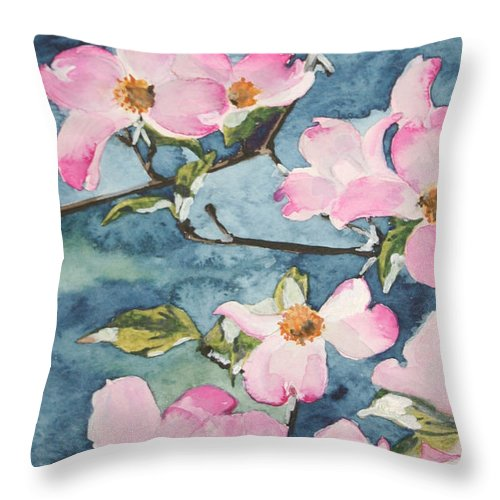 Flowers Throw Pillow featuring the painting Blushing Prettily by Jean Blackmer