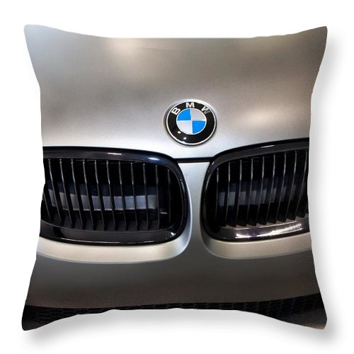 Bmw M3 Throw Pillow featuring the photograph Bmw M3 Hood by Aaron Berg