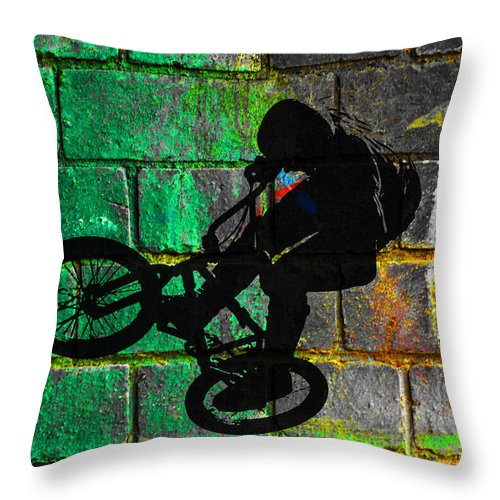 Bmx Throw Pillow featuring the digital art Bmx II by David Pringle