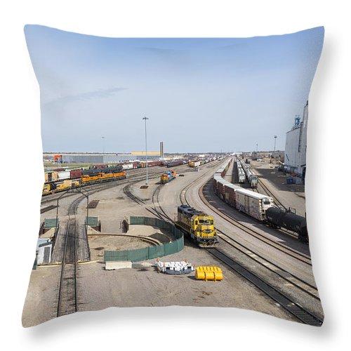 Train Throw Pillow featuring the photograph Bnsf Northtown Yard 4 by John Brueske