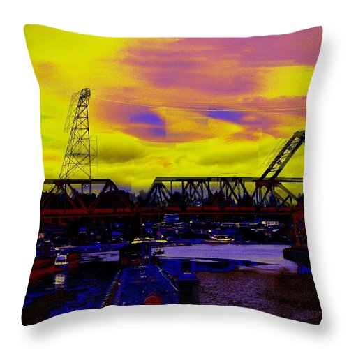Seattle Throw Pillow featuring the photograph Bnsf Trestle At Salmon Bay by Tim Allen