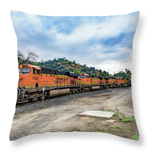 Bnsf Throw Pillow featuring the photograph Bnsf7492 1 by Jim Thompson