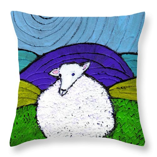 Sheep Throw Pillow featuring the painting Bo Peeps Lost Sheep by Wayne Potrafka