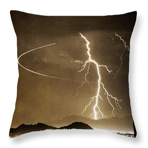 Lightning Throw Pillow featuring the photograph Bo Trek Lightning Art by James BO Insogna