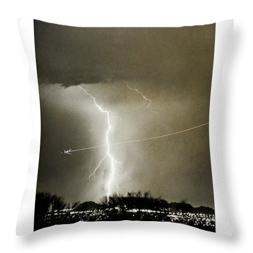 Lightning Throw Pillow featuring the photograph Bo Trek Lightning Bw Fine Art Poster Print by James BO Insogna