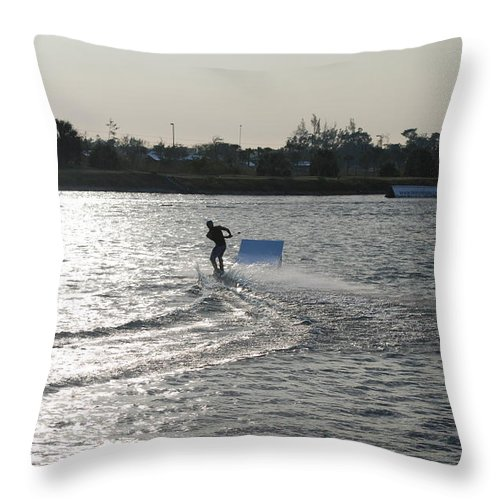 Waves Throw Pillow featuring the photograph Board Jump by Rob Hans