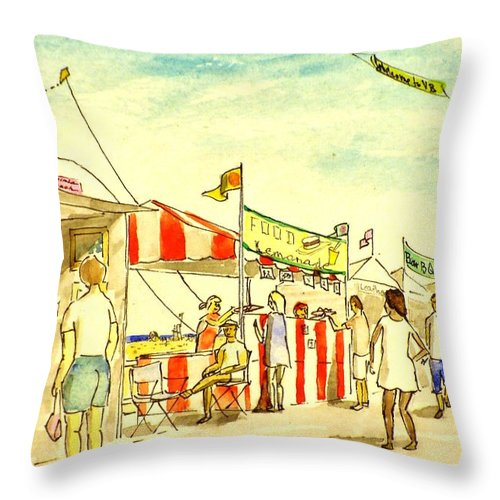 Beach Throw Pillow featuring the painting Boardwalk Artshow Virginia Beach by Vic Delnore