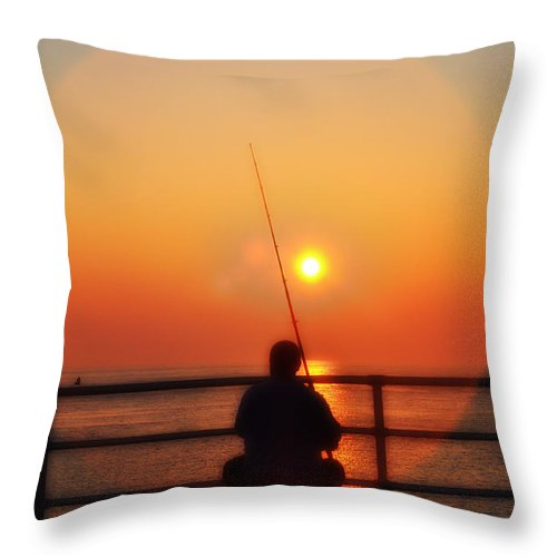 Atlantic City Throw Pillow featuring the photograph Boardwalk Fishing by Bill Cannon