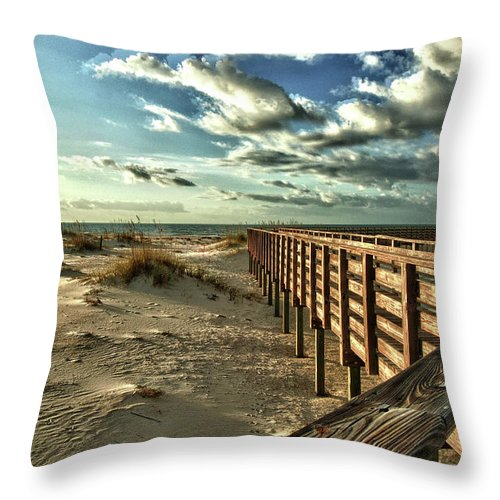 Alabama Photographer Throw Pillow featuring the digital art Boardwalk On The Beach by Michael Thomas
