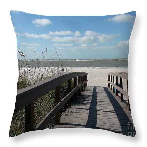 Boardwalk Throw Pillow featuring the photograph Boardwalk To The Beach by Christiane Schulze Art And Photography