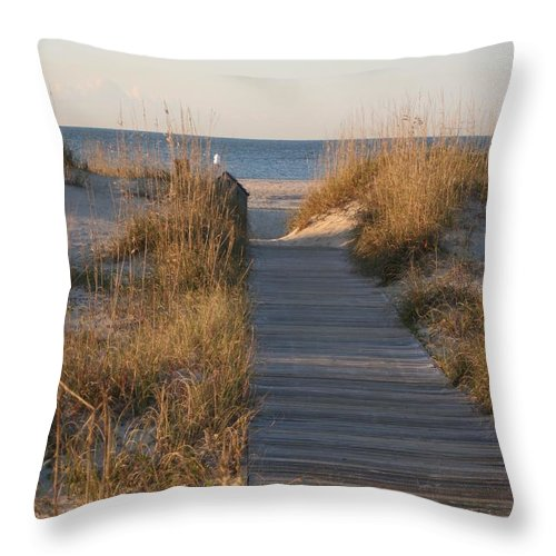 Boardwalk Throw Pillow featuring the photograph Boardwalk to the Beach by Nadine Rippelmeyer