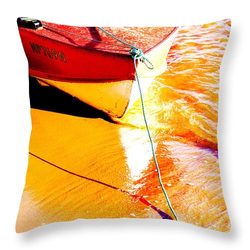 Boat Abstract Yellow Water Orange Throw Pillow featuring the photograph Boat Abstract by Sheila Smart Fine Art Photography