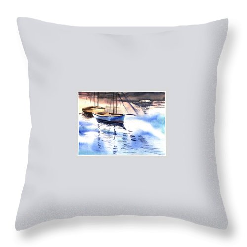 Watercolor Throw Pillow featuring the painting Boat And The River by Anil Nene
