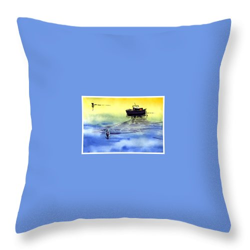 Watercolor Throw Pillow featuring the painting Boat And The Seagull by Anil Nene