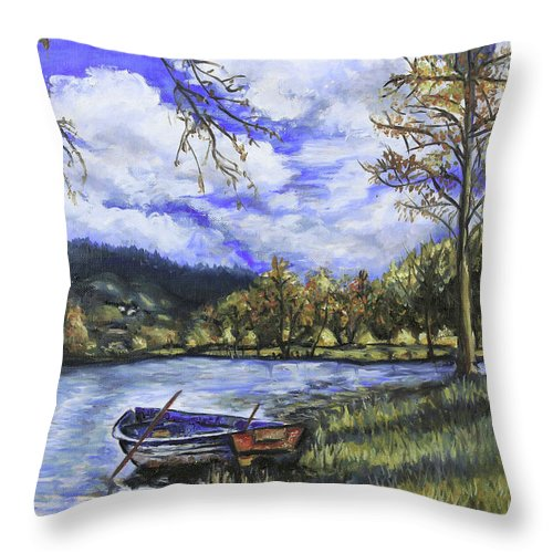 Oil Throw Pillow featuring the painting Boat By The Lake by Shuanteya Sherman