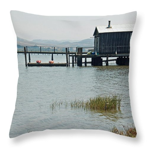 Boat House Throw Pillow featuring the photograph Boat House at Inverness by Suzanne Gaff