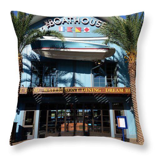 Boathouse Disney Springs Florida Throw Pillow featuring the photograph Boathouse Front by David Lee Thompson