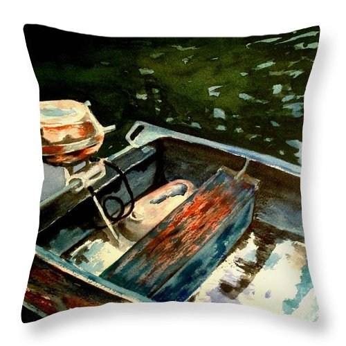 Boat Throw Pillow featuring the painting Boat In Fog 2 by Marilyn Jacobson