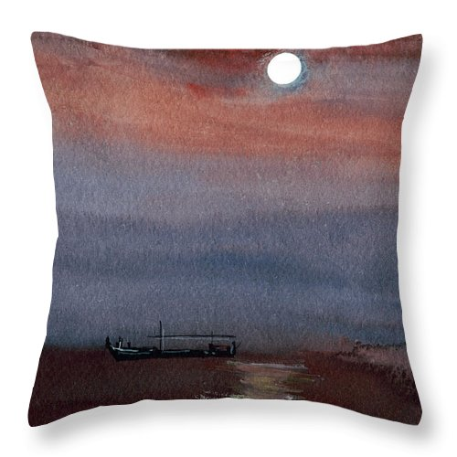 Seascape Throw Pillow featuring the painting Boat In The Moon by Anil Nene