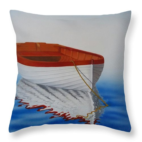 Boat Throw Pillow featuring the painting Boat In The Sea by Hazem Radwan