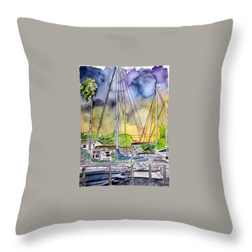Marina Throw Pillow featuring the painting Boat Marina by Derek Mccrea