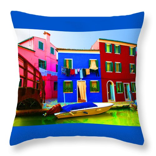 Burano Throw Pillow featuring the pastel Boat Matching House by Donna Corless