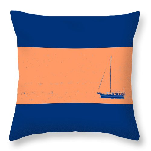Boat Throw Pillow featuring the photograph Boat On An Orange Sea by Ian MacDonald