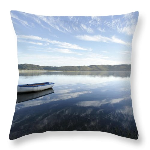 Boat Throw Pillow featuring the photograph Boat On Knysna Lagoon by Neil Overy