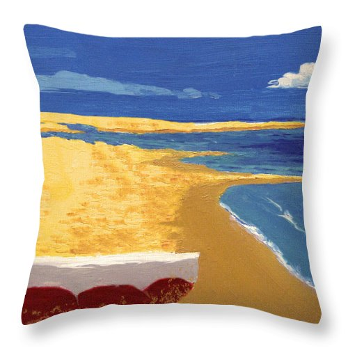 Boat Throw Pillow featuring the painting Boat On The Sand Beach by Alban Dizdari
