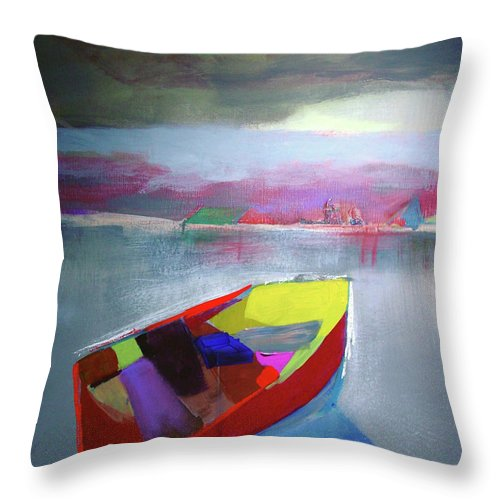 Boats For Fishing Throw Pillow featuring the painting Boat On Whiskey Lake by Paul Miller