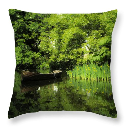 Irish Throw Pillow featuring the digital art Boat Reflected On Water County Clare Ireland Painting by Teresa Mucha