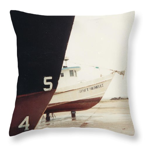 Boat Reflection Throw Pillow featuring the photograph Boat Reflection And Angles by Cindy New
